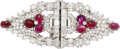 Estate Jewelry:Brooches - Pins, Ruby, Diamond, Platinum Double-Clip-Brooch. ...