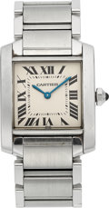 Estate Jewelry:Watches, Cartier Lady's Stainless Steel Tank Francaise Watch. ... (Total: 2Items)