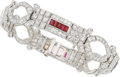 Estate Jewelry:Bracelets, Diamond, Ruby, Platinum Bracelet. ...
