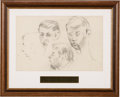 Music Memorabilia:Original Art, Beatles - Stuart Sutcliffe Original Large Pencil Sketch in FramedDisplay (Circa Late 1950s). ...
