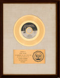 "Music Memorabilia:Awards, Clarence Carter ""Patches"" RIAA White Mat Gold Record Sales Award(Atlantic 45-2748, 1970). ..."