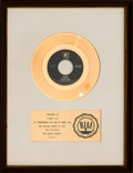 "Music Memorabilia:Awards, Tommy Roe ""Dizzy"" RIAA White Mat Gold Record Sales Award (ABCRecords 45-11164, 1969). ..."