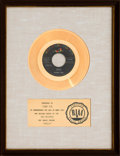 "Music Memorabilia:Awards, Tommy Roe ""Sheila"" RIAA White Mat Gold Record Sales Award(ABC-Paramount Records 45-10329, 1962). ..."