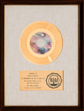 "Music Memorabilia:Awards, Dionne Warwick ""I Say A Little Prayer"" RIAA White Mat Gold RecordSales Award (Scepter SCE-12203, 1967). ..."