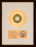 "Music Memorabilia:Awards, O-Jays ""Back Stabbers"" RIAA White Mat Gold Record Sales Award(Philadelphia International ZS7 3517, 1972). ..."