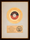 """Music Memorabilia:Awards, Spinners """"Could It Be I'm Falling In Love"""" RIAA White Mat GoldRecord Sales Award (Atlantic 45-2927, 1972). ..."""