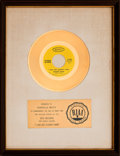 "Music Memorabilia:Awards, Johnny Nash ""I Can See Clearly Now"" RIAA White Mat Gold RecordSales Award (Epic 5-10902, 1972)...."