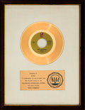 "Music Memorabilia:Awards, O'Jays ""Back Stabbers"" RIAA White Mat Gold Single Sales Award(Philadelphia International Records, 1972)...."