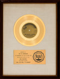 "Music Memorabilia:Awards, Fifth Dimension ""One Less Bell To Answer"" RIAA White Mat GoldRecord Sales Award (Bell B-940, 1970)...."