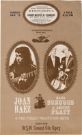 Music Memorabilia:Posters, Joan Baez Grand Ole Opry Concert Poster (1961). Extremely Rare....