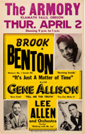 Music Memorabilia:Posters, Brook Benton The Armory Concert Poster (1959). Extremely Rare....