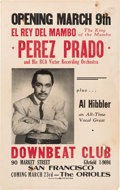 Music Memorabilia:Posters, Perez Prado Downbeat Club Concert Poster (circa early 1950s).Extremely Rare....