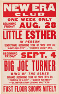 Music Memorabilia:Posters, Big Joe Turner/Little Esther New Era Club Concert Poster (1953). Extremely Rare....