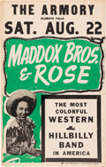 Music Memorabilia:Posters, Maddox Bros. And Rose Armory Concert Poster (circa 1951). VeryRare....