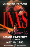 Music Memorabilia:Autographs and Signed Items, INXS Signed Bomb Factory Concert Poster (1993)....