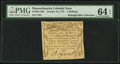 Colonial Notes:Massachusetts, Massachusetts October 16, 1778 3s PMG Choice Uncirculated 64 EPQ.. ...