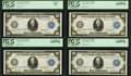 Large Size:Federal Reserve Notes, Fr. 947 $10 1914 Federal Reserve Notes Cut Sheet of Four PCGS Choice New 64PPQ (3) and PCGS Choice New 63.. ... (Total: 4 notes)
