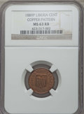 Liberia, Liberia: Republic copper Pattern Cent 1889-P MS63 Red and BrownNGC,...