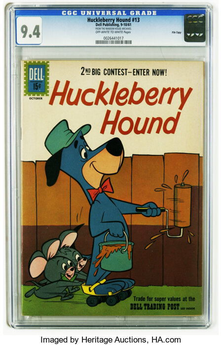 Huckleberry Hound #13 File Copy (Dell, 1961) CGC NM 9.4 Off-white to white pages. Overstreet 2005 NM- 9.2 value = $65. CGC c...