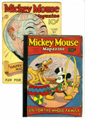 Platinum Age (1897-1937):Miscellaneous, Mickey Mouse Magazine V1#11 and V2#1 Group (K. K. Publications,Inc., 1936) Condition: Average GD. The first cover appearanc...(Total: 2 Comic Books)