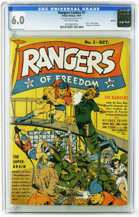 Rangers Comics #1 Denver pedigree (Fiction House, 1941) CGC FN 6.0 Off-white pages. Intro of Ranger Girl and the Rangers...