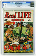 Golden Age (1938-1955):War, Real Life Comics #17 Pennsylvania pedigree (Nedor Publications,1944) CGC VF+ 8.5 Off-white to white pages. Albert Einstein ...