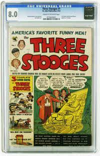 Three Stooges #1 (St. John, 1953) CGC VF 8.0 Cream to off-white pages. Joe Kubert and Norman Maurer appear on the first...