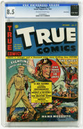Golden Age (1938-1955):Non-Fiction, True Comics #17 Pennsylvania pedigree (True, 1942) CGC VF+ 8.5Off-white to white pages. Brooklyn Dodgers story. This is cur...