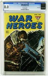 War Heroes #8 Pennsylvania pedigree (Dell, 1944) CGC VF 8.0 Off-white pages. Overstreet 2005 VF 8.0 value = $58. CGC cen...