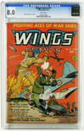 Golden Age (1938-1955):War, Wings Comics #11 (Fiction House, 1941) CGC VF 8.0 White pages. GeneFawcette cover and art. Overstreet 2005 VF 8.0 value = $...