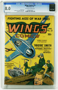 Golden Age (1938-1955):War, Wings Comics #17 (Fiction House, 1942) CGC VF 8.0 Off-white towhite pages. Gene Fawcette cover. Art by Al Walker, Harry Sah...