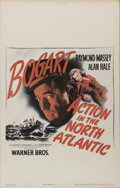 "Movie Posters:War, Action in the North Atlantic (Warner Brothers, 1943). Window Card(14"" X 22""). Humphrey Bogart, Raymond Massey and Alan Hale..."