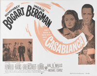 "Casablanca (Warner Brothers, R-1956). Half Sheet (22"" X 28""). Humphrey Bogart and Ingrid Bergman star in the b..."