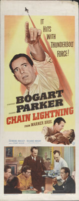 "Chain Lightning (Warner Brothers, 1950). Insert (14"" X 36""). Humphrey Bogart, Eleanor Parker and Raymond Masse..."
