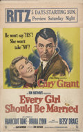 """Movie Posters:Comedy, Every Girl Should Be Married (RKO, 1948). Window Card (14"""" X 22""""). Cary Grant stars in this comedy about a good-looking doct..."""