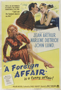 "A Foreign Affair (Paramount, 1948). One Sheet (27"" X 41""). The great Billy Wilder directs Jean Arthur, John Lu..."