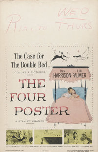 "The Four Poster (Columbia, 1952). Window Card (14"" X 22""). Rex Harrison and Lilli Palmer star in this romantic..."