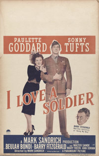 """I Love a Soldier (Paramount, 1944). Window Card (14"""" X 22""""). Paulette Goddard and Sonny Tufts head this ensemb..."""