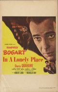 "Movie Posters:Film Noir, In a Lonely Place (Columbia, 1950). Window Card (14"" X 22""). Humphrey Bogart stars with Gloria Grahame in this romantic film..."