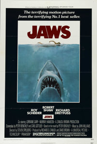 "Jaws (Universal, 1975). One Sheet (27"" X 41""). Peter Benchley's father, essayist Robert Benchley, paid him $1..."