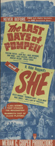 "Movie Posters:Adventure, The Last Days of Pompeii/She Combo (RKO, R-1949). Insert (12.5"" X34.5""). Remember the good old days when one ticket got you..."
