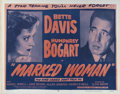 """Movie Posters:Crime, Marked Woman (Warner Brothers, R-1956). Half Sheet (22"""" X 28"""").Bette Davis and Humphrey Bogart star in this crime drama. Th..."""