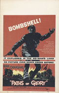 "Movie Posters:War, Paths of Glory (United Artists, 1958). Window Card (14"" X 22"").Director Stanley Kubrick was very outspoken about the futili..."