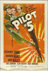 """Pilot #5 (MGM, 1942). One Sheet (27"""" X 41""""). In the early days of WWII, an air base in Java is being bombed re..."""