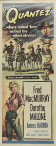 """Movie Posters:Western, Quantez (Universal International, 1957). Insert (14"""" X 36""""). Outlaw gang leader Fred MacMurray leads his partners in a getaw..."""