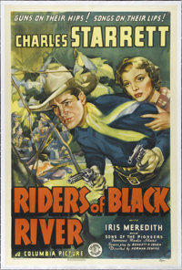 "Riders of Black River (Columbia, 1939). One Sheet (27"" X 41""). Charles Starrett is Wade Patterson, a Texas Ran..."