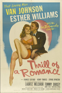 "Thrill of a Romance (MGM, 1945). One Sheet (27"" X 41""). Esther Williams stars as a new bride who feels abandon..."