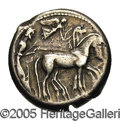 Ancients:Greek, Ancients: Sicily, Syracuse. Ca. 480-475 B.C. AR tetradrachm (22 mm,17.04 g). Charioteer driving walking quadriga right, holdingkentr...