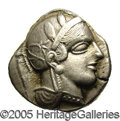 Ancients:Greek, Ancients: Attica, Athens. Ca. 449-404 B.C. AR tetradrachm (25 mm,17.10 g). Helmeted head of Athena right / Owl standing right; olive...