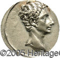 Ancients:Roman, Ancients: Augustus. 27 B.C.-A.D. 14. AR denarius (18 mm). ColoniaPatricia(?), 17-16 B.C. Bare head right / Capricorn swimming right,...